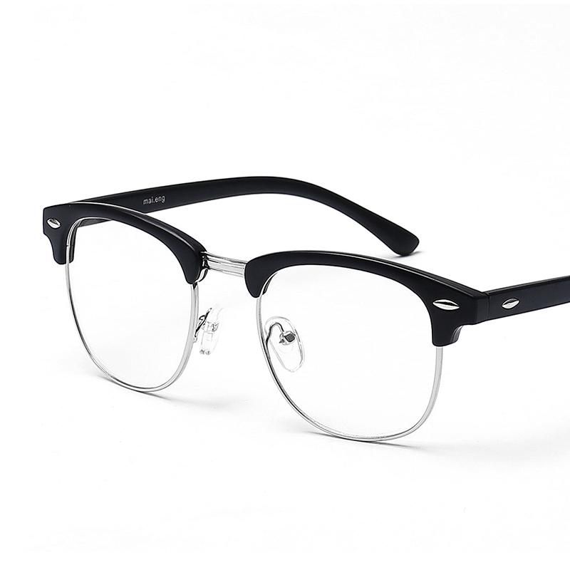 复古眼镜框男轻平光镜女半框可配近视眼镜架大脸防辐射眼睛