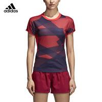 adidas阿迪达斯女子短袖 2018新款圆领运动T恤 羽毛球服