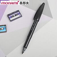 韩国monami/慕娜美04031-01PLUS PEN 黑杆黑色水性笔勾线笔纤维笔绘图笔彩色中性笔签字笔美术绘画艺术
