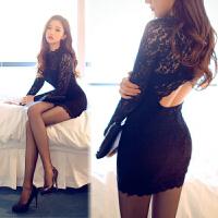 情趣内衣性感紧身蕾丝露背珍珠旗袍情趣内衣制服诱惑套装黑色