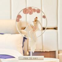 结婚礼物新婚庆闺蜜创意浪漫装饰品摆件新房婚房现代简约工艺礼品 玫瑰情侣圆形摆件