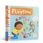 英文原版Busy Playtime 忙碌的玩耍时间 躲猫猫游戏 认识新单词汇 玩具纸板机关操作书绘本促进手指灵活与发展