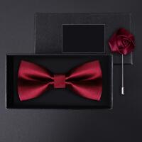 正装结婚婚礼英伦韩版蝴蝶结胸针礼盒装男士亮红光面领结套装