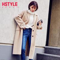 【1件3折966元】韩都衣舍2018女装新款冬装韩版开叉双面呢毛呢外套NF10836玎