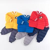 迪士尼Disney童装 男宝宝羽绒套装轻盈保暖男童米奇印花上衣简约防风裤子2件套194T929