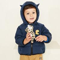 【全场2件2.5折,到手价:124.8】美特斯邦威旗下moomoo童装男童羽绒服冬季新款迷彩鸭绒宝宝幼童外套