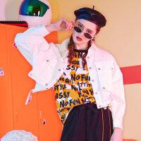 【5.16-5.17日抢购价:69.9】美特斯邦威外套女2019新款秋装休闲潮牌原创涂鸦时尚超短款夹克女