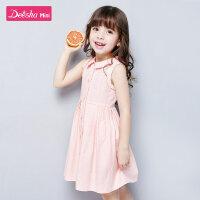 笛莎女童连衣裙2021夏季新款女宝宝时尚洋气背心裙小女孩格纹裙子