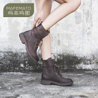 玛菲玛图新款欧美帅气中筒靴系带机车鞋牛皮女靴子复古马丁靴5751-3