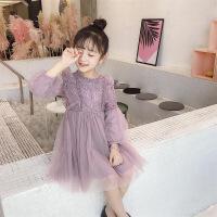 女童连衣裙秋冬款加绒珍珠花边领泡泡袖洋气小香风蕾丝公主蓬蓬裙