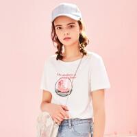 美特斯邦威2018夏季新款潮流短袖T恤女基础款百搭打底衫韩版潮