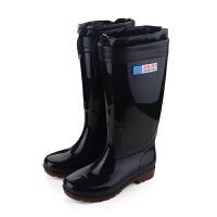 【好架势】男士新款中高筒迷彩耐磨防水雨鞋耐油酸碱工矿黑色雨靴保暖靴