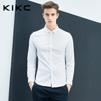 kikc长袖衬衫男2018秋季新款白色青年商务上班纯色简约休闲衬衣男