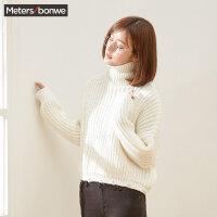 【全场2件2.5折,到手价:59.8】美特斯邦威高领毛衣女韩版冬装新款简约套头毛衫文艺专柜款