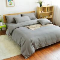 床上用品四件套1.5/1.8m床单被套床笠学生宿舍1.2m被子单人 银色 纯银灰