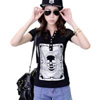 韩版宽松T恤夏季女半袖显瘦雪纺短袖T血衫上衣服个性夏天夜店韩范 黑色短袖