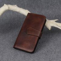手工仿 钱长款男士复古做旧手头层植鞣牛皮钱夹大容量手机 古铜色