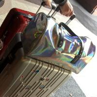 自留!新款英国潮包镭射手提包大包包购物袋港风亮面旅行袋行李袋