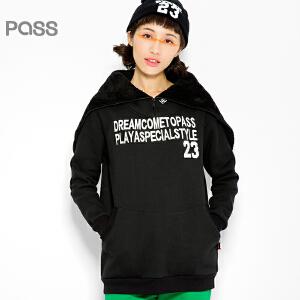 PASS原创潮牌冬装 保暖短款毛绒连帽黑色套头宽松加厚卫衣女6540521197