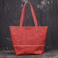 女士手提包手工编织子母包休闲时尚简约购物袋潮流外出购物袋商务多功能公文包斜跨单肩包 玫红色