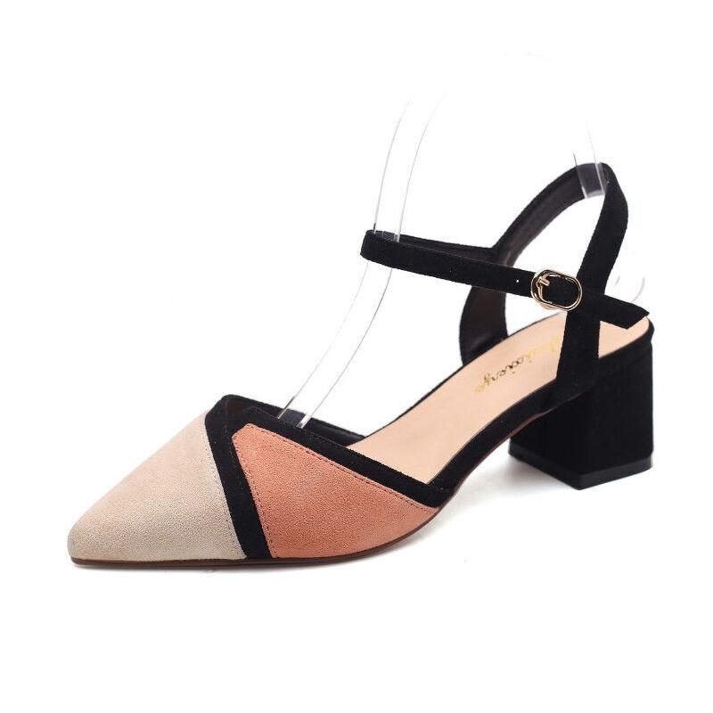 WARORWAR 2019新品YN9-E30夏季欧美粗跟拼色女鞋潮流时尚潮鞋百搭潮牌凉鞋女