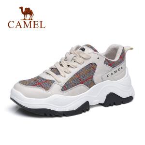 骆驼2018新款真皮系带透气运动鞋女时尚复古休闲鞋子深口厚底单鞋