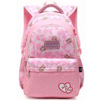 韩版可爱小清新双肩包女生初中学生书包小学生4-6六年级校园背包 粉红色 大号 4-9年级