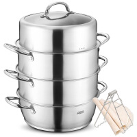 爱仕达 蒸锅 三层不窜味304不锈钢烹饪锅具28cm电磁炉通用QL1528S