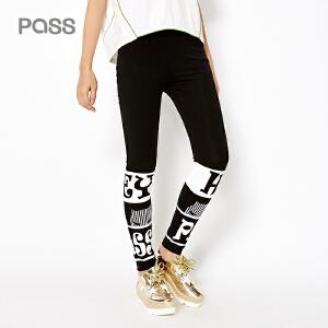 pass2017新款夏装打底裤女外穿字母运动休闲裤薄款黑色裤子小脚裤