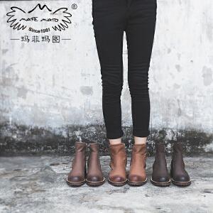 玛菲玛图复古马丁靴女英伦风  女鞋2018新款欧洲站短靴女粗跟系带单靴子1708-6