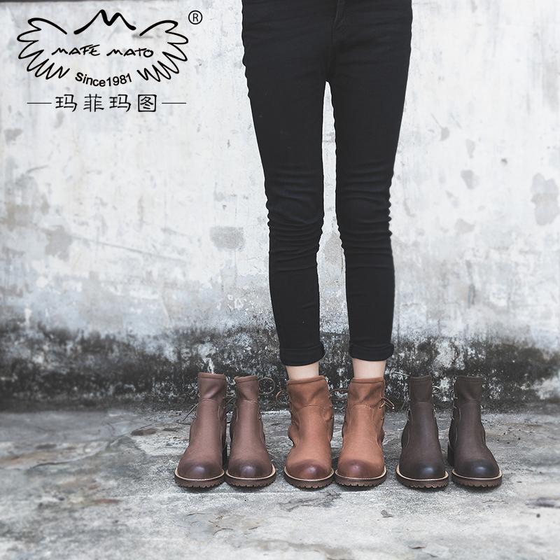玛菲玛图复古马丁靴女英伦风  女鞋2018新款欧洲站短靴女粗跟系带单靴子1708-6尾品汇 付款后3-5个工作日发货