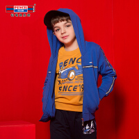 【3折价:69】铅笔俱乐部童装男童外套2019秋冬装新款连帽拉链外套中大童针织外套