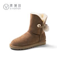 青婉田平底防滑二棉鞋女2017新款羊皮毛一体加绒雪地靴女冬季中筒