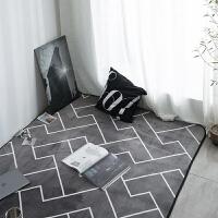 欧式潮牌简约现代黑白客厅茶几沙发地毯卧室床边地垫长方形进门垫