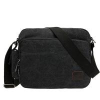 男士帆布包单肩韩版运动休闲男包商务斜挎包小挎包背包平板电脑包 黑色 6661 非纯黑色