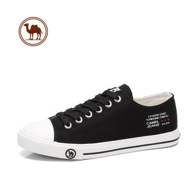 骆驼牌女鞋 2018新款舒适帆布鞋女 平跟系带韩版休闲布鞋平底板鞋