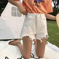 牛仔短裤女2018春季韩版纯色百搭宽松显瘦不规则毛边阔腿裤热裤潮