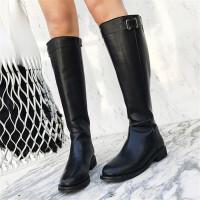 乌龟先森 长筒靴女 及膝靴子冬季新款平底高筒靴皮带扣骑士靴马靴