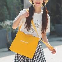 春季新款糖果色手提帆布斜跨包袋马卡龙多色校园刺绣肩带学生女包