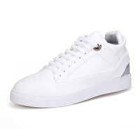 白色中帮内增高休闲运动男板鞋学生白鞋韩版高帮秋季潮鞋真皮