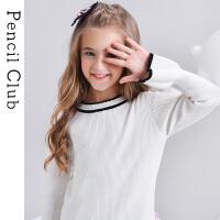 【2件1.5折价:29.7元】铅笔俱乐部童装秋冬新款女童针织衫中大童套头毛衫儿童毛衣保暖