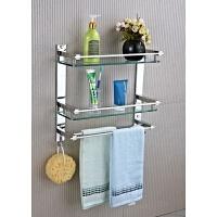 304不锈钢浴室卫生间二层玻璃置物架卫浴五金挂件洗衣机收纳架