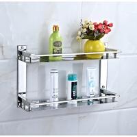 304不锈钢置物架浴室玻璃架两层卫浴卫生间化妆架脸盆收纳储