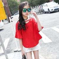 女童套装夏装2018新款韩版儿童时髦洋气女大童夏季纯棉两件套潮衣