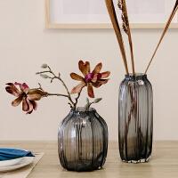卡莎慕手工吹制花瓶 玻璃彩色花瓶 透明中号 北欧客厅装饰摆件