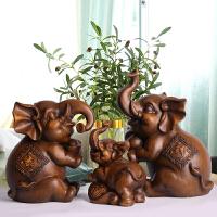 象摆件家居软装饰品客厅电视柜酒柜摆设创意礼物一家三口吉祥小象