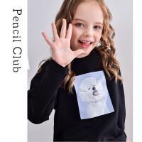 【2件3折价:38.4元】铅笔俱乐部童装女童圆领长袖T恤大童儿童卡通印花2021春秋新款