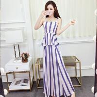 套装女夏韩版新款洋气撞色竖条纹系吊带上衣+显高侧开叉阔腿长裤 条纹
