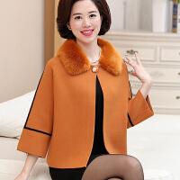 中老年女装秋季羊毛大衣短款上衣妈妈装秋装毛领大码薄毛呢外套