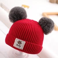 宝宝帽子冬季加厚毛线帽6-30个月女宝宝男宝宝保暖毛线帽韩版 均码